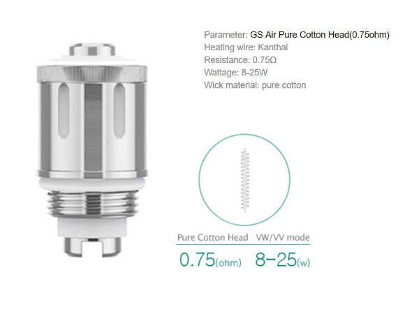 gs air pure cotton 0,75ohm